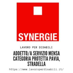 ADDETTO/A SERVIZIO MENSA CATEGORIA PROTETTA Pavia